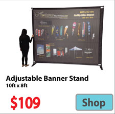 Visit 10x8 Adjustable Banner - Advertising Display Products page