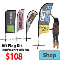 Visit 8ft Custom Printed Banner Flags - Advertising Display Products page