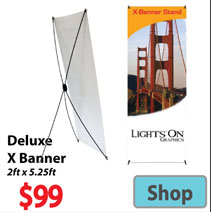 Visit Deluxe X Banner - Advertising Display Products page