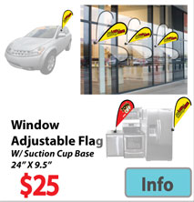 Visit Window Banner Flag w Suction Cup Base page